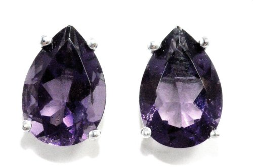 (10x7mm Created Alexandrite Pear Stud Earrings .925 Sterling Silver Rhodium Finish)