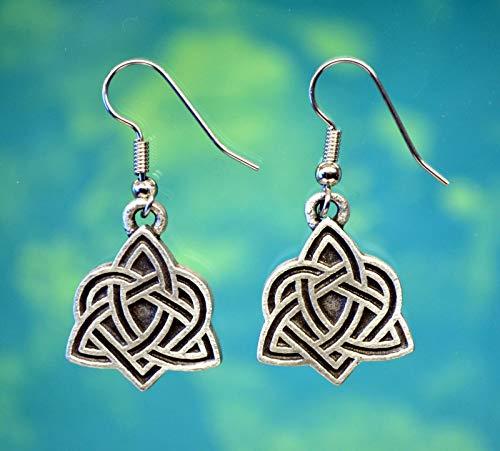 Celtic Triquetra Heart Earrings | Celtic Love Knot Earrings in Fine Pewter ()