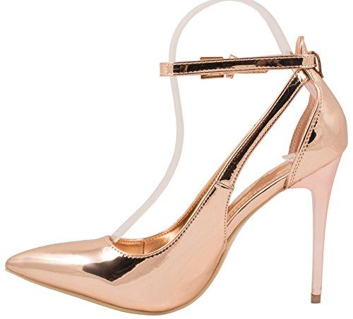 tacco moderne stiletto Elara scarpe punta a in pump comode tacco con vernice Champagne con qHzqY6