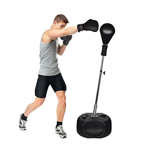 Protocol All-in-one Boxing Set | Solid EVA Foam Punching Ball with Adjustable Height Stand That Withstands Tough Beatings and Includes Comfortable Boxing Gloves (Premium) (Best Boxing Equipment For Home)