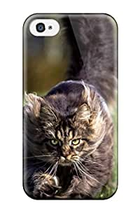 Iphone 4/4s Running Fluffy Cat Print High Quality Tpu Gel Frame Case Cover