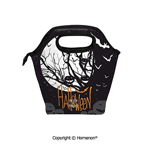 Insulated Neoprene Soft Lunch Bag Tote Handbag lunchbox,3d prited with Halloween Themed with Full Moon and Jack o Lanterns on a Tree,For School work Office Kids Lunch Box & Food Container]()