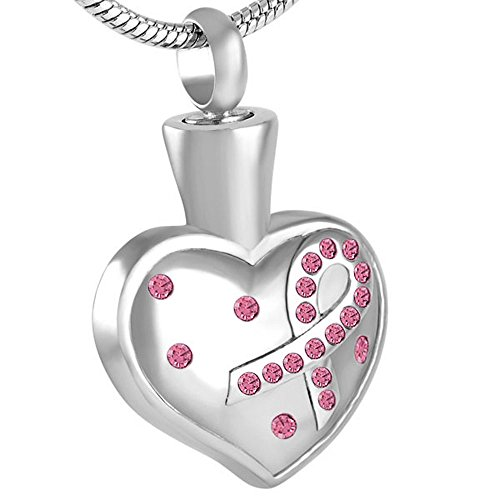 Ribbon on Heart Breast Cancer Memorial Jewelry Ashes Keepsake Necklace for Love One (Pink)