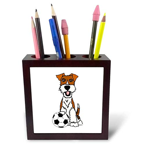 (3dRose All Smiles Art - Pets - Cool Funny Wire Fox Terrier Puppy Dog Playing Soccer Cartoon - 5 inch Tile Pen Holder (ph_307679_1))