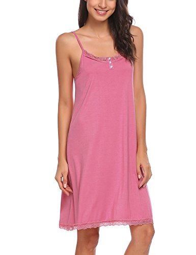 - Ekouaer Women Sexy Cotton Sleepwear Lace Neck Chemise (Pink S)
