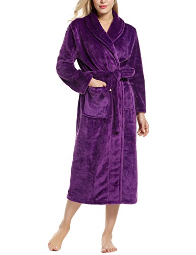 Unisex Super Kimono Bathrobe Microfiber Fleece Loungewear Warm