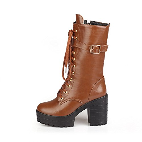Lace Womens Warm 1TO9 Brown Rubber Mid Up Waterproof Platform MNS02558 Heel Urethane Boots Lining Boots Toe Adjustable Closed Strap H1xSIqxw
