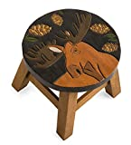 Plow & Hearth Hand-Carved Wood Moose Footstool - 12 L x 12 W x 10 H