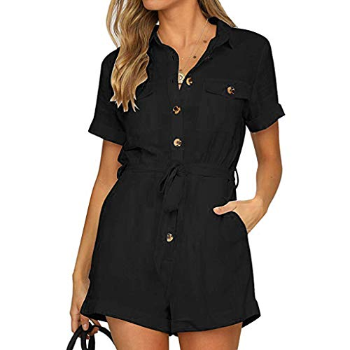JOYFEEL Women's Casual Button Down Cuffed Sleeve Tops Adjustable Waistband Summer Short Rompers Jumpsuits with Pockets Black