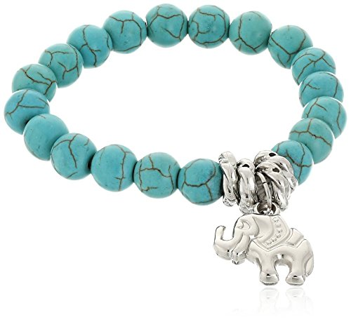 Chap Turquoise Beads Tibetan Silver Cute Elephant Stretch Bangle Bracelet