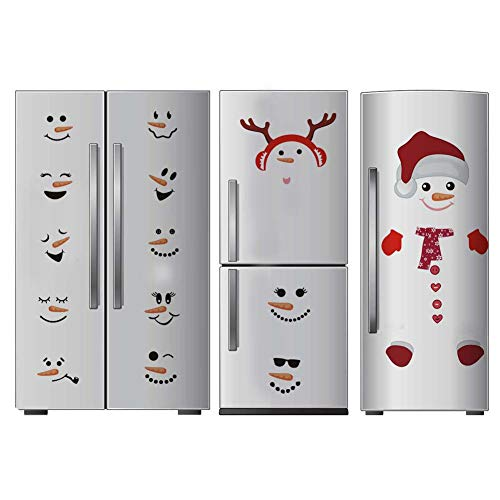 Wall Santa Claus (Antlers Snowman Wall Decal, Christmas Sticker for Fridge Window Cling Decal, Vinyl Santa Claus Wall Decal,Lovely Snowman Face Art Wall Decor, Home Decorations)