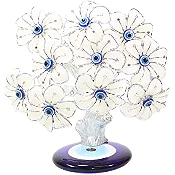 We pay your sales tax Turkish Blue Evil Eye White Flowers Money Fortune Tree Protection Good Luck Gift (TRE304)