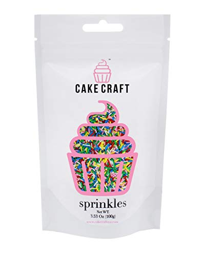 Price comparison product image Cake Craft - Sprinkles - Rainbow Jimmies - 100g Bag – For Cake Decorating