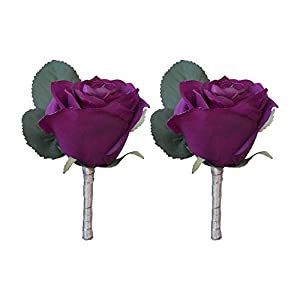 DALAMODA Purple Rose Boutonniere 2Pcs Groom Boutonniere Buttonholes Groomsman Silk Artificial Rose Wedding Flowers Brooch Pin Accessories Prom Suit Decoration (Pack of 2) 35