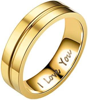 指輪 リング 婚約指輪 レディース メンズ 彼女 彼氏 カップル 刻印 オシャレ 個性 ファッション プレゼント ジルコニア ゴールド(ジルコニア無し) アメリカ7号