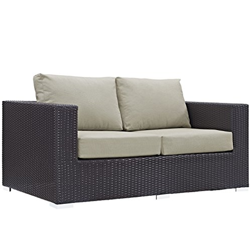 Modway Convene Wicker Rattan Outdoor Patio Loveseat in Espresso Beige