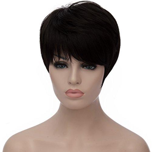 aicos Pixie Cut Trendy Straight Side Bang Negro Corto resistente al calor sintético mujer peluca: Amazon.es: Belleza
