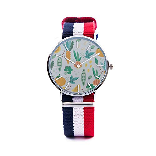 Unisex Fashion Watch Fruit and Vegetable Harvest Sweet Print Dial Quartz Stainless Steel Wrist Watch with Nylon NATO Strap Watchband for Women Men 36mm Casual Watch