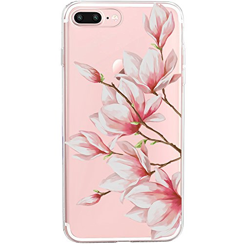 iPhone 7 Plus&8 Plus Case,Flyeri Crystal Fashion Floral Pattern Transparent Clear Soft silicone TPU Ultra thin Phone cover back cases For apple iPhone 7 Plus&8 Plus (6)