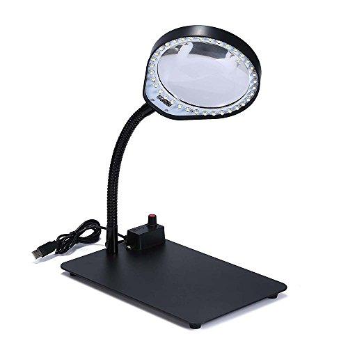 JoyUtoy Laptop Flexible Magnifier LED Desk Lamp USB Cabled, Powerful 3x5x8x10x Magnifying Glass (10X, Black) by Joyutoy