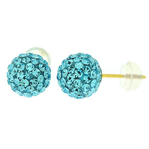 Price comparison product image 14k Yellow Gold 6mm Disco Ball Stud Earrings with Crystal Elements, Choice of Color (Aqua Blue)