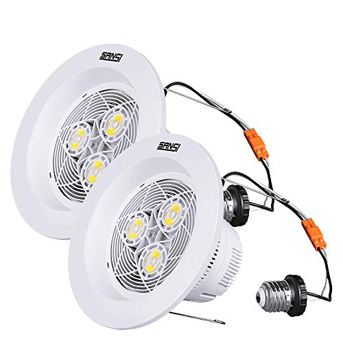 6 inch LED Recessed Lighting, 15W (150W Equiv.) Dimmable Recessed Lighting, 1800lm, 4000K Natural White Daylight, LED Recessed Downlight, Energy Saving, LED Retrofit Lighting, 2 Pack, SANSI by SANSI