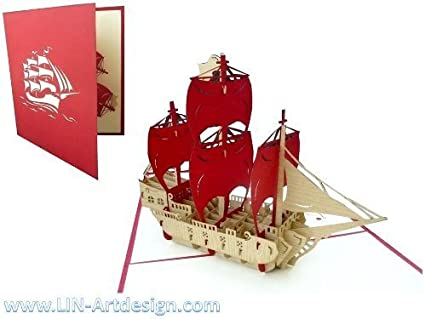 Carte de voeux Félicitations Carte 3d-Pliante Carte Pop-up carte Bateaux 2