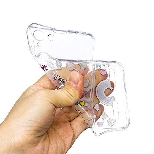 Lenovo K5 Hülle,MAGQI Transparent Ultra Dünn Gel TPU Bumper Tasche mit Bunter Cartoon Design [Kratzfeste,Scratch-Resistant] [Crystal Clear] Weiche Silikon Gummi Schutzhülle [Frei Stylus Pen] 360 edge  Einhorn