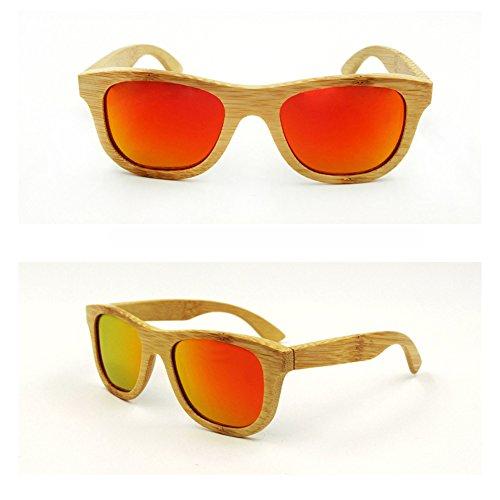 Sunglasses Polarized UV400 Color Lens Eye Wear Faux Wooden Frame Bamboo - Rimed Glasses Horn
