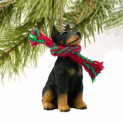 Doberman Pinscher Miniature Dog Ornament - Black & Tan