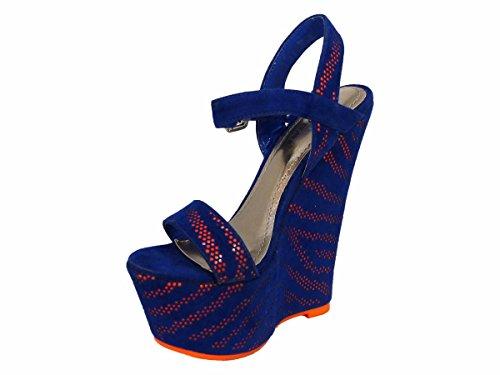 femme SKO'S 57 130058 Talons compensés Orange Blue qZxwOESZ