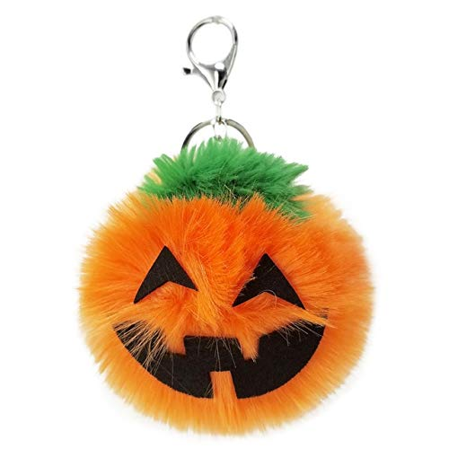 Rarido Faux Rabbit Fur Pom Pom Keychain Halloween Key Ring Bag Charms Pumpkin Fluffy Pompom Ball Keychains Porte Clef - (Color: -