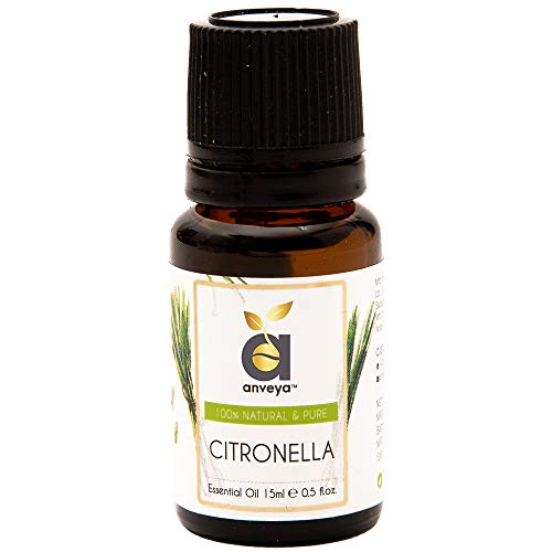 Anveya Citronella Essential Oil, 100% Natural & Pure, 15ml, for Hair & Skin Care, Mosquito Repellent, Refreshing Aroma