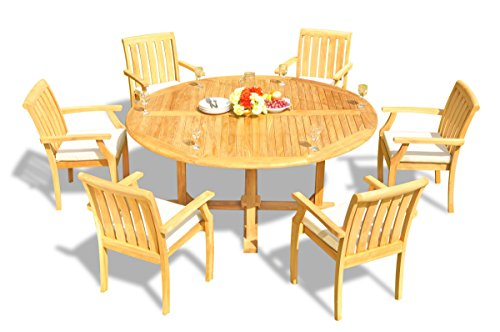 (New 7 Pc Luxurious Grade-A Teak Wood Outdoor Dining Set - 72