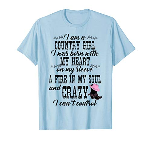 I Am A Country T-Shirt Born With My Heart Tee (Country Girl Heart T-shirt)