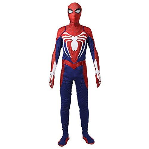XcostumeスパイダーマンPS4コスチューム adult manコスプレ衣装 ジャンプスーツ スパンデックス生地 弾力は良いコスプレ衣装 2017 レッド·ブルー ハロウィン クリスマス イベンド 変装 サイズ:M