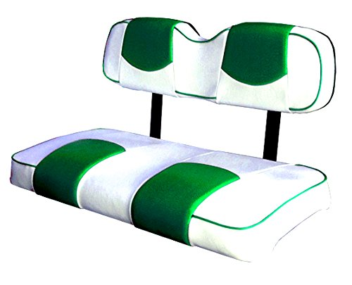 Kool Cushions CCDS2UP-WHCGOTPFR-01 -Custom Vinyl Golf Cart Seat Covers Front and Rear-White With Galapagos Top and Piping - For Club Car DS 2000 and Up Golf Cart -  CCDS2UP-WHGOTPFR-01