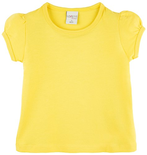 Lovetti Girls' Basic Short Puff Sleeve Round Neck T-Shirt 12 Yellow]()