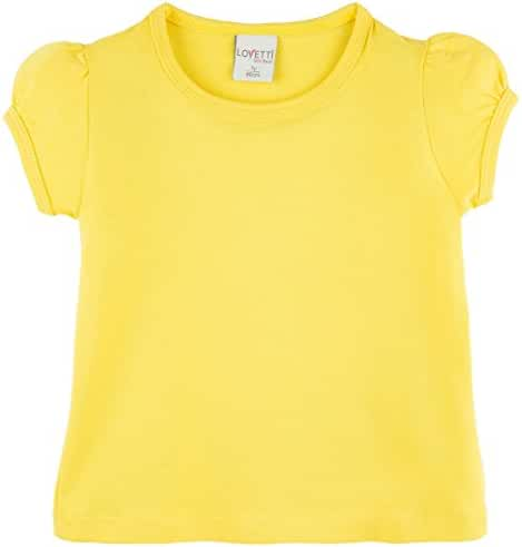 Lovetti Girls' Basic Short Puff Sleeve Round Neck T-Shirt