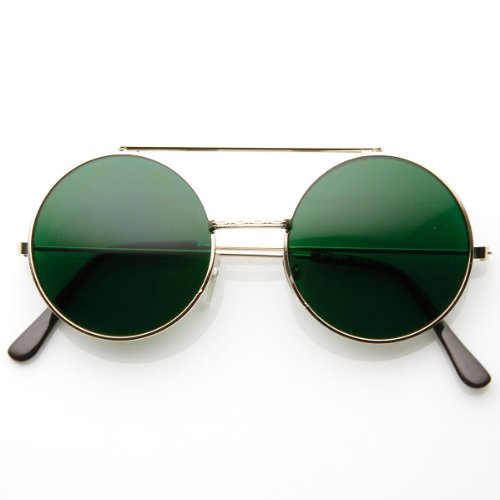 zeroUV - Limited Edition Color Flip-Up Lens Round Circle Django Sunglasses - Green Lenses Color