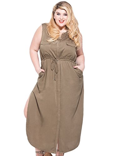 KARI LYN Women's Plus Size London Cargo Dress (1X, Olive) Cargo Dress
