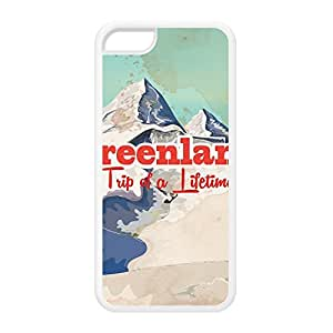 Greenland White Silicon Rubber Case for iPhone 5C by Nick Greenaway + FREE Crystal Clear Screen Protector
