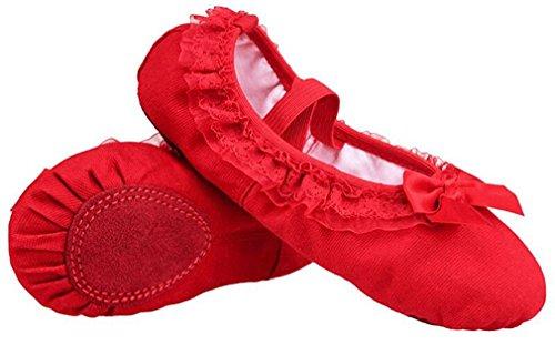 Dance Women Split Gymnastics Yoga Flat Soft KVbaby for Size Pilates Ballets Girls Pumps Red Shoes Canvas Slippers xA6qSqIn