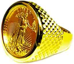 14 Kt Solid Yellow Gold Mens Ring with 22K Fine Gold 1/4oz US Liberty Coin 25Mm-Random Year Coin