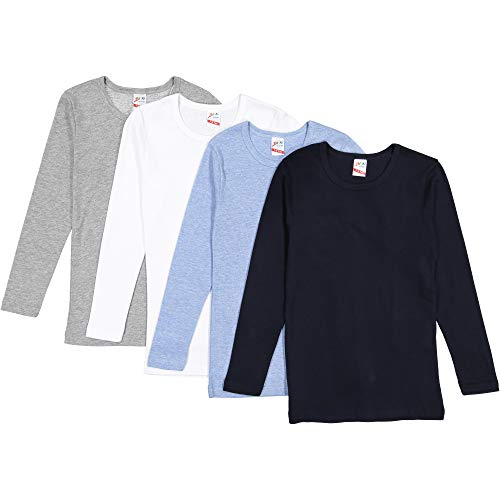 Brix Boys' Long Sleeve Tees - Combed Cotton Super Soft 4-pk Crewneck Shirts. 11/13