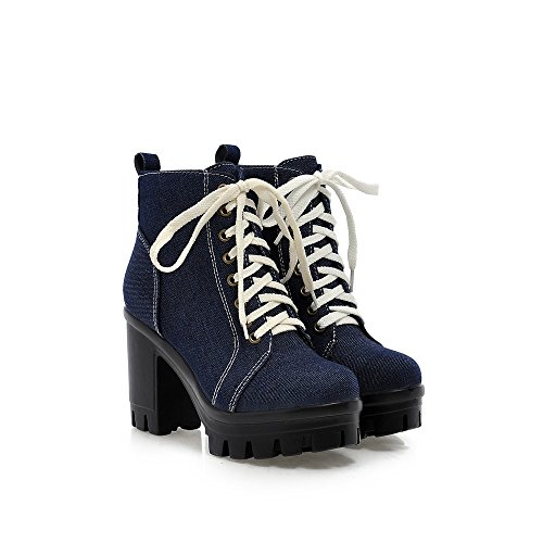 Dark Lace up Heel Women Platform Shoes High Blue Denim Women's Boots Square AIWEIYi Heeled Skin HZBxq