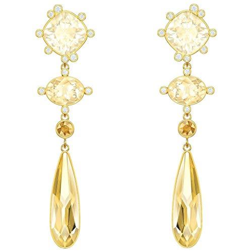 Swarovski Olive Pierced Earrings, Gold Plating, 5456889