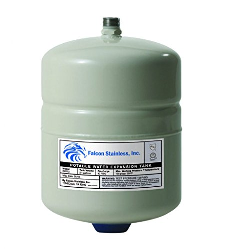 Falcon Stainless EXPT-2 Thermal Potable Water Expansion Tank 2.1 Gal with Butyl Bladder/Polypropylene Liner ...