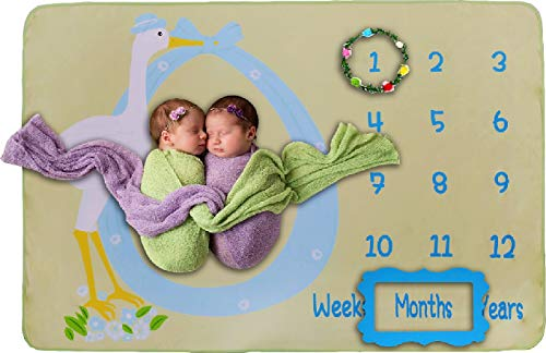 Double Sided Baby Milestone Blanket- Monthly Milestones Photo Props Backdrop for Newborn Boy Girl Photography, Calendar Fleece Blankets for Infant Growth Memory Pictures, Baby Shower Gifts (Green)