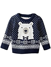 Baby Boys Nordic Polar Bear Sweater Blue 3-6 Months